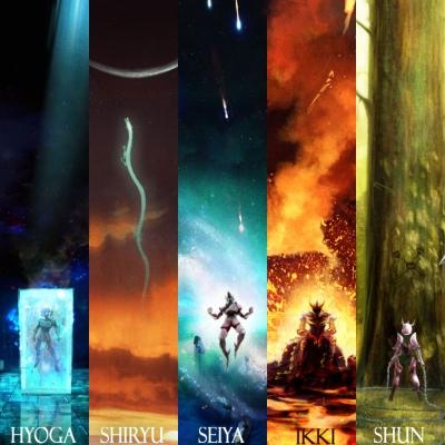 Ilustrações estilizadas dos personagens de Saint Seiya