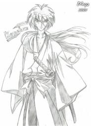 Kenshin Himura do estilo Hiten Mitsurugi feito por Diego Alberto da Silva Tillmann