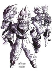 Os três primeiros Super Saiyajins feito por Diego Alberto da Silva Tillmann